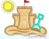 SAND CASTLE Applique  4x4 5x7 6x10  Machine Embroidery Design  Beach girl boy  INSTANT Download