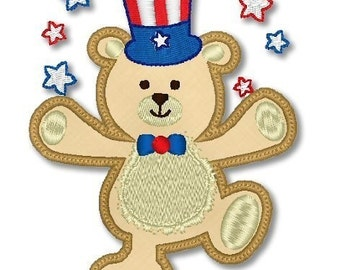 Applique PATRIOTIC BEAR 4x4 5x7  Machine Embroidery Design FOURTH Of July 4th