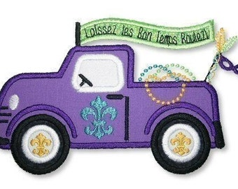 MARDI Gras TRUCK  Applique 4x4 5x7  Machine Embroidery Design  INSTANT Download