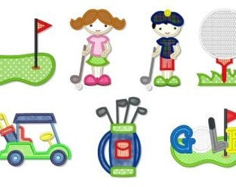 LITTLE GOLFERS Applique SET 4x4 5x7 6x10 Machine Embroidery Design golf club cart bag boy girl tee ball