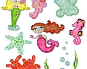 Applique MYSTICAL MERMAIDS SET  4x4 5x7  Machine Embroidery Design  Instant