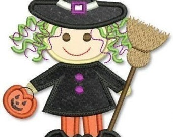 CUTE L'il WITCH Halloween Applique 4x4 5x7 6x10 Machine Embroidery Design  INSTANT Download