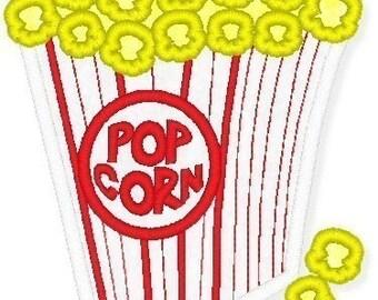 Applique POPCORN Bucket 4x4  5x7  Machine Embroidery Design girl boy  INSTANT Download