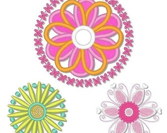 LOOPY FLOWERS Set  4x4  Machine Embroidery Design Applique  INSTANT Download