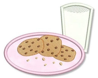 MILK and COOKIES Plate Applique 4x4 5x7 7x5  Machine Embroidery Design  INSTANT Download
