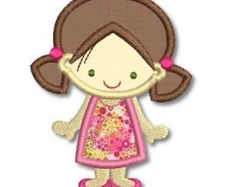 Cute GIRL in A-Line DRESS Applique 4x4 5x7  Machine Embroidery Design  INSTANT