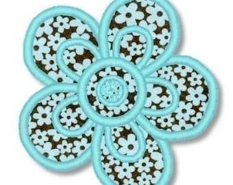 Applique Quick FLOWER  4x4  5x7 6x10  Machine Embroidery Design  INSTANT Download
