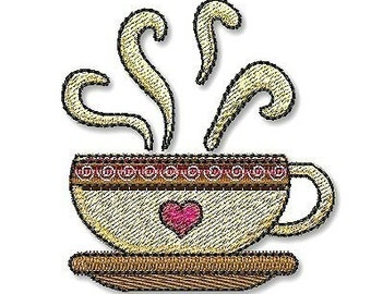 HOT COFFEE MUG  4x4 Filled  Machine Embroidery Design