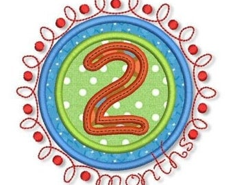 Doodle NUMBERS Monthly Milestones SET  4x4 5x7 Machine Embroidery Design  INSTANT Download