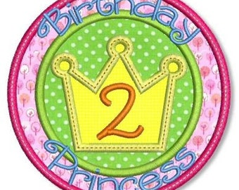 BIRTHDAY PRINCESS Applique Numbers Set 4x4 5x7 Machine Embroidery Design Girl  INSTANT