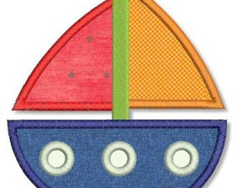 SAILBOAT 2 Applique 4x4 5x7 6x10 Machine Embroidery Design baby boy girl boat  INSTANT Download