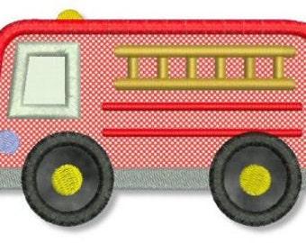 FIRE TRUCK Applique 4x4 5x7 Machine Embroidery Design Fire Engine Firetruck baby boy  INSTANT Download
