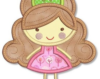 GIRLY GIRL 5 Applique 4x4 5x7 Machine Embroidery Design  INSTANT