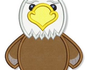 BALD EAGLE Applique 4x4 5x7 6x10 Machine Embroidery Design bird Patriotic July 4th American  INSTANT Download
