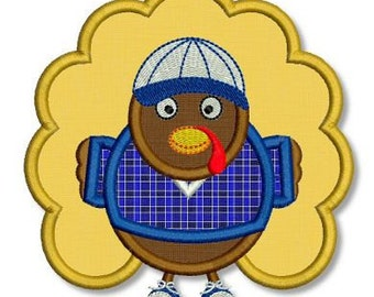 BOY TURKEY Applique 4x4 5x7 6x10 Machine Embroidery Design THANKSGIVING Holiday