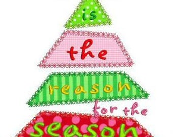 JESUS is the REASON for the Season Christmas Tree Satin and Deco  4x4 5x7 6x10  Machine Embroidery Design  INSTANT Download