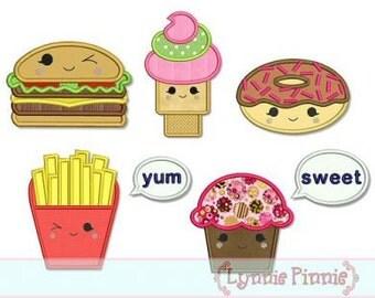 HAPPY Kawaii FOODS Set Applique 4x4 5x7 6x10 Machine Embroidery Design fries donut cupcake hamburger ice cream cone  INSTANT Download