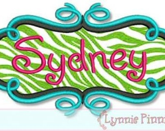 SWIRL FRAME Applique 4x4 5x7 6x10  Machine Embroidery Design  INSTANT Download