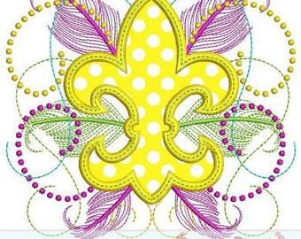 FANCY FLEUR de Lis  Applique  4x4 5x7 6x10  Machine Embroidery Design mardi gras  INSTANT Download