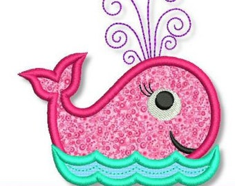 SWIRLY Girly WHALE Applique 4x4 5x7 6x10  Machine Embroidery Design girl beach ocean  INSTANT Download