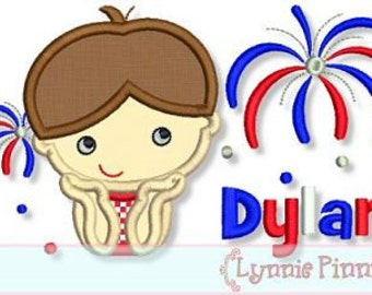 Watching  FIREWORKS Applique BOY 4x4 5x7 6x10 Machine Embroidery Design July 4th independence usa   INSTANT Download