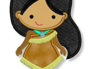 Cutie PRINCESS as Pocahontas Applique 4x4 5x7 6x10  Machine Embroidery Design  INSTANT Download