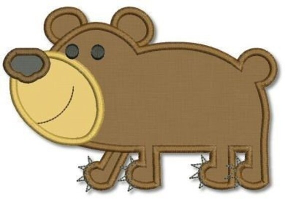 Baby BEAR Cub Applique 4x4 5x7  Machine Embroidery Design zoo  INSTANT Download