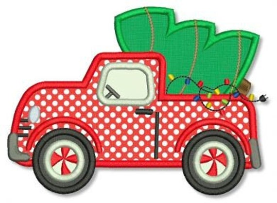 Embroidery Design Truck With Tree Zig Zag