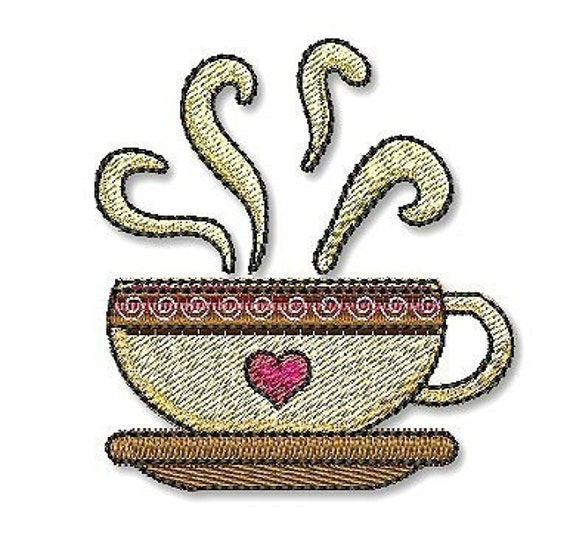 Items Similar To HOT COFFEE MUG 4x4 Filled Machine Embroidery Design On Etsy