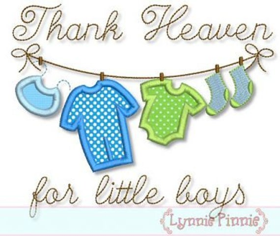 THANK Heaven for Little BOYS Clothesline Applique 4x4 5x7 6x10  Machine Embroidery Design bib new baby newborn  INSTANT Download