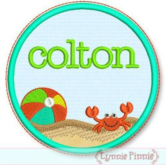 CIRCLE BEACH FRAME Applique 4x4 5x7 6x10 7x11 Machine Embroidery Design name personalize   Instant Download