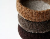 Felted Mini Bowls - set of three in chocolate caramel
