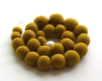 Felted Bead Necklace - Mustard