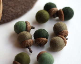 Felted Acorns - set of 10 in greens