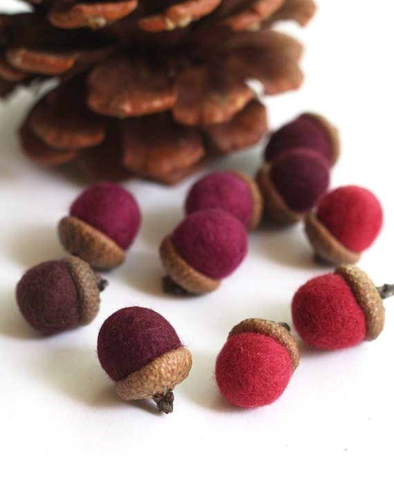 Felted Acorns - set of 10 in reds