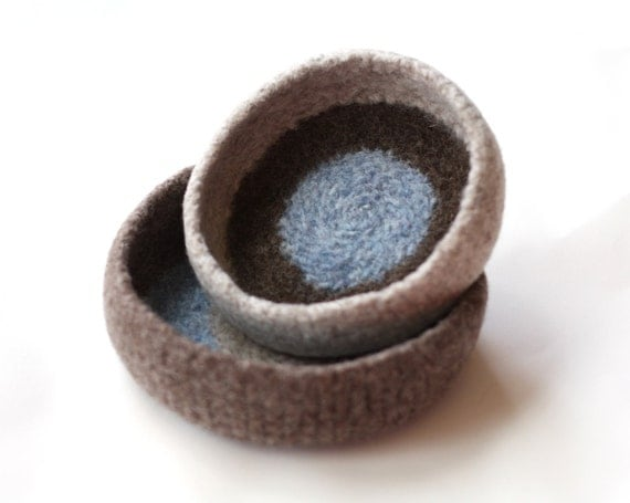 Autumn Sky Dot Felted Bowl Duo