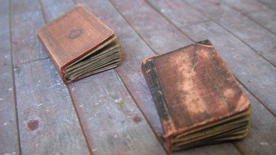 Miniature Dusty Brown Books