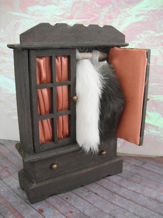 Miniature Antique Bureau with Fur Coats