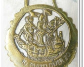 Vintage Brass Mayflower Ship Door Hanger Wall Display Medallion Buckle