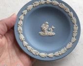 Vintage Wedgwood Neptune Compotiers - Aquarius Zodiac dish - Blue Jasper ware White Porcelain - Laurel leaf Border dated 1970