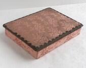 Vintage French Shabby Pink Damask Wood Jewelry Box - Petite Trinket Box