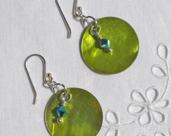 Green Shell, Swarovski and Sterling Silver pierced earrings dangles