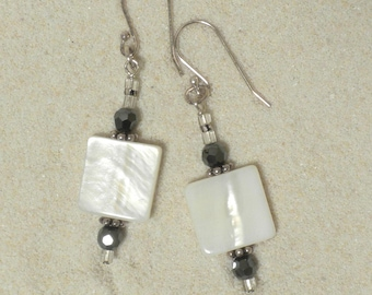 Black and White - Shell and Sterling Silver Pierced Dangle Earrings