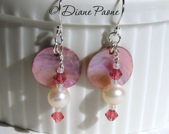 Pink Shell and Pearl - Sterling Silver Earrings with Swarovski Crystals