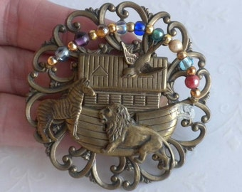 Noah's Ark Brooch - Antiqued Brass with Glass beaded Rainbow