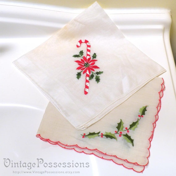 2 Delicate Vintage Christmas Hankies - Embroidered Candy Cane  Holly Poinsettia - Cotton