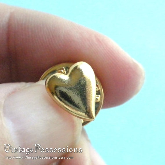Heart Hat Pin: Vintage Heart Tie Tack Lapel Or Hat Pin Gold Tone