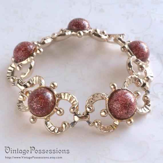Vintage Goldstone Bracelet Gold Tone Links