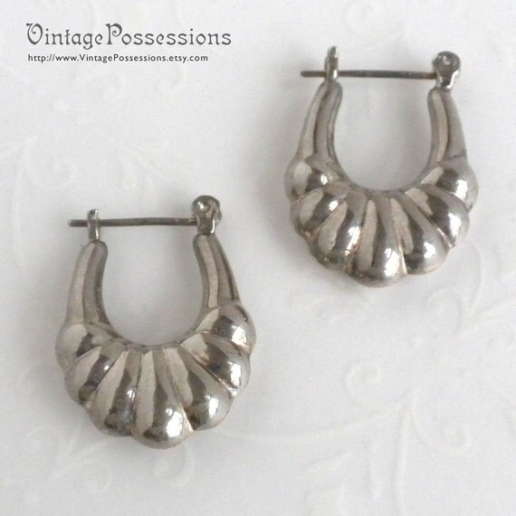 Sterling Silver Puffed Oval Hoops - Pierced Earrings