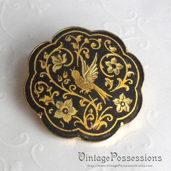 Vintage Damascene Brooch - Black and Gold